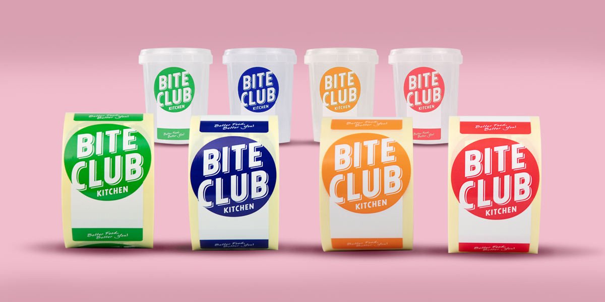 Self-adhesive, printed, overprintable labels for Bite Club, with special shapes to be applied to conical pots. Produced by Etiquette Labels