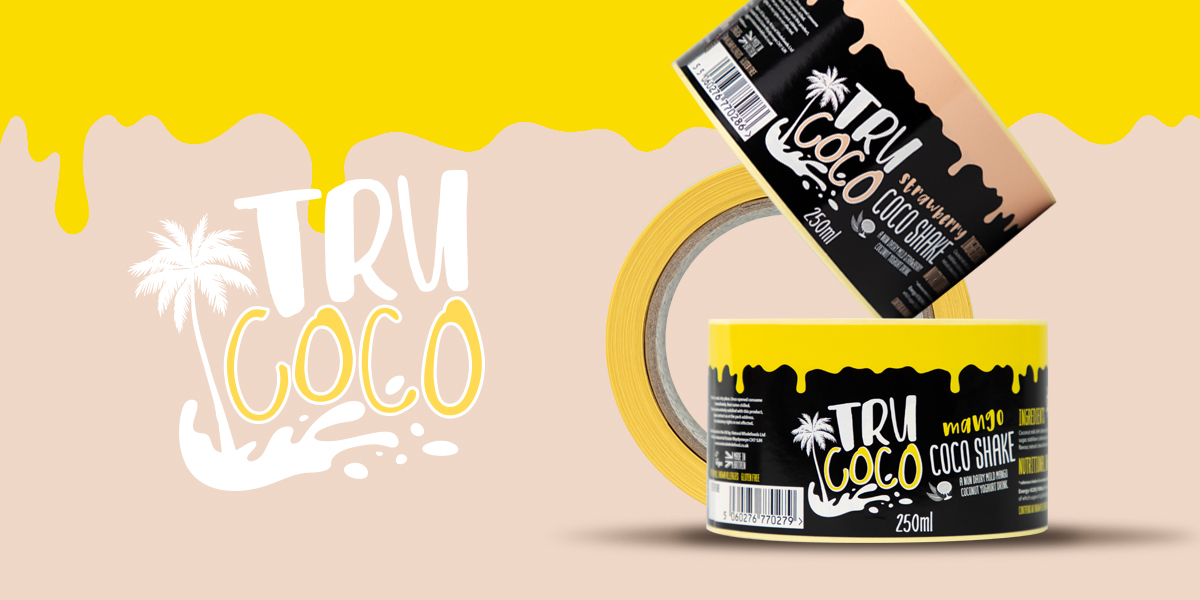 Tru Coco self-adhesive printed labels, for a coconut yoghurt drink. Produced by Etiquette Labels